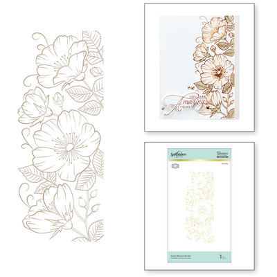 Glimmer Hot Foil Plate, DI - Sweet Blooms Border