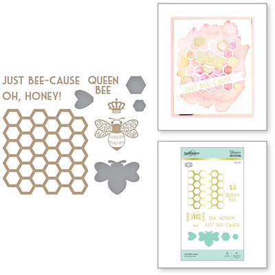 Glimmer Hot Foil Plate & Dies, Sweet Cardlets - Just Bee-cause