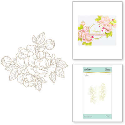 Glimmer Hot Foil Plate, YBB - Glimmering Peony
