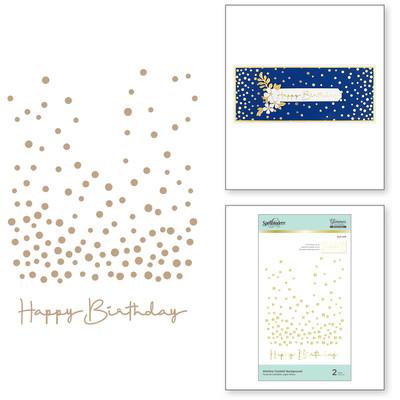Glimmer Hot Foil Plate, Slimline Confetti Background