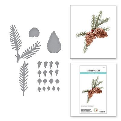 Die, SHF - Pine Cone & Evergreen Bough w/Ladybugs