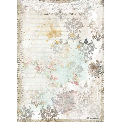 A4 Rice Paper, Romantic Journal - Texture With Lace