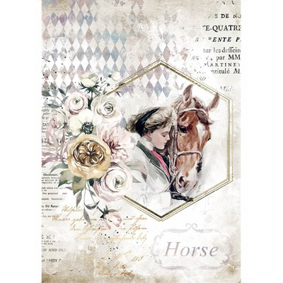 A4 Rice Paper, Romantic Horses - Lady Frame