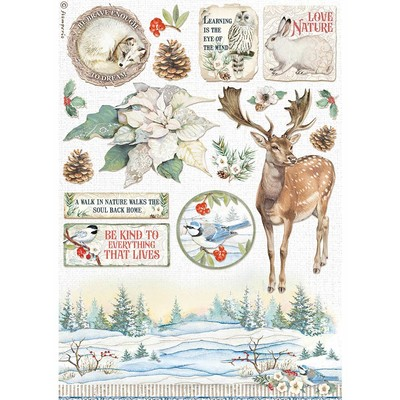 A4 Rice Paper, Winter Tales - Poinsettia