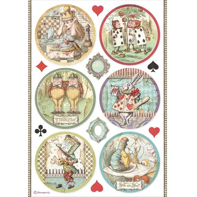 A4 Rice Paper, Alice Through the Looking Glass - Rounds