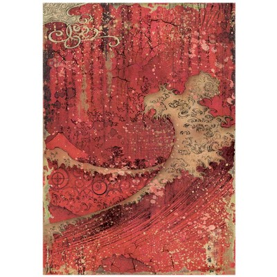 A4 Rice Paper, Sir Vagabond in Japan - Red Texture