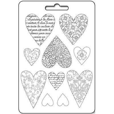 A4 Soft Mould, Textured Hearts
