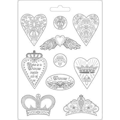 A4 Soft Mould, Princess - Hearts & Crowns