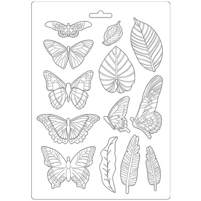 A4 Soft Mould, Amazonia - Leaves & Butterflies