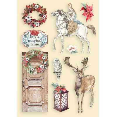 A5 Colored Wooden Frames, Winter Tales - Horse & Deer