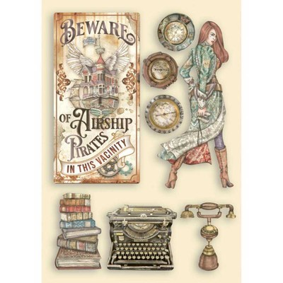 A5 Colored Wooden Shapes, Lady Vagabond Lifestyle - Typewriter
