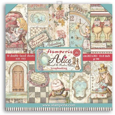 """20.3X20.3cm (8""""X8"""") Paper Pad, Alice Through the Looking Glass"""