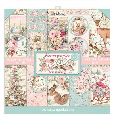 "15.24X15.24cm (6""X6"") Paper Pad, Pink Christmas"