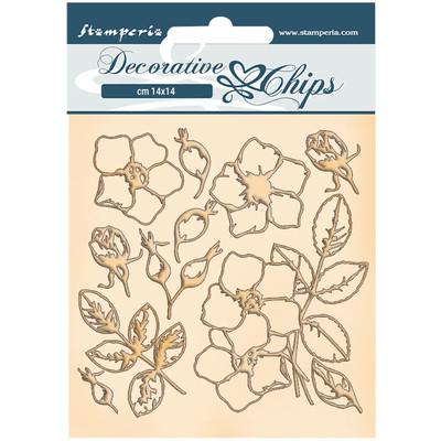 Decorative Chips, Romantic Christmas - Flowers