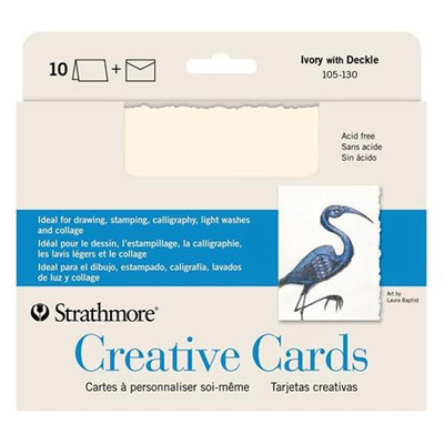 """Creative Cards, 5"""" x 6.875"""" - Ivory with Deckle (10pk)"""