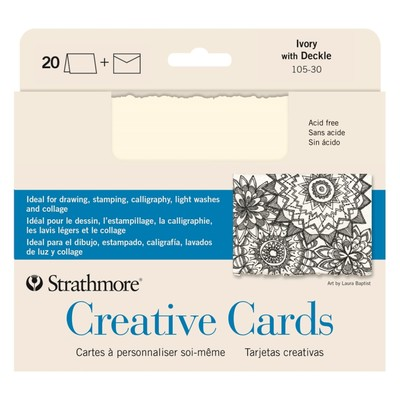 """Creative Cards, 5"""" x 6.875"""" - Ivory with Deckle (20pk)"""