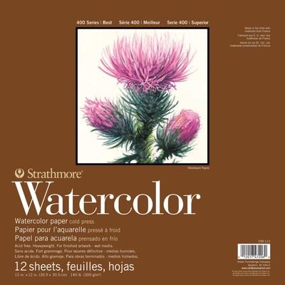 "400 Series Watercolor Pad, Cold Press - 12"" x 12"" (Tape Bnd)"
