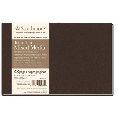 """400 Series Toned Mixed Media Hardb. Journal, Tan - 8.5 x 5.5"""""""