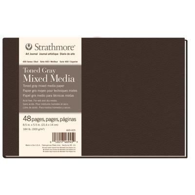 "400 Series Toned Mixed Media Hardb. Journal, Gray - 8.5"" x 5.5"""