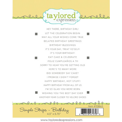 Cling Stamp, Simple Strips - Birthday