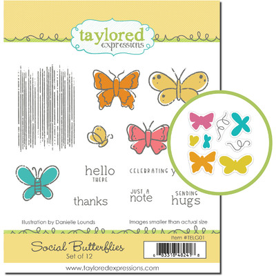 Cling & Clear Stamp Combo, Social Butterflies