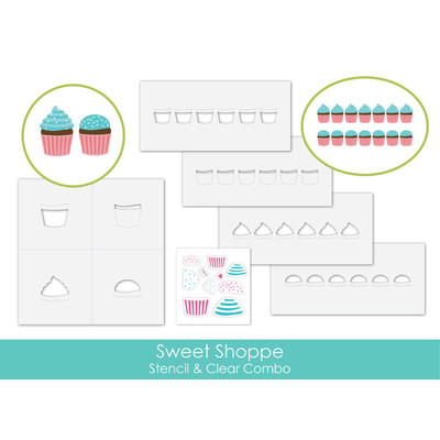 Stencil & Clear Stamp Combo, Sweet Shoppe