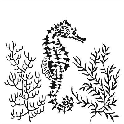 6x6 Stencil, Seahorse