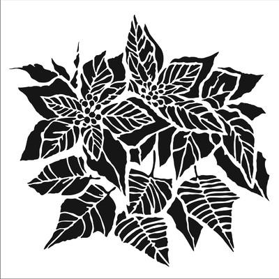 6X6 Stencil, Poinsettia