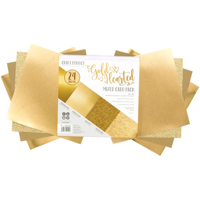 6X6 Mixed Cardstock Pack, Gold Hearted