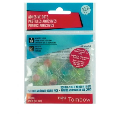 Permanent Adhesive Dots, Asst Colors (100ct)