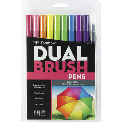 Dual Brush Pen 10 Color Set, Bright
