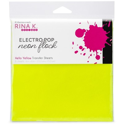 6X6 Neon Flock Transfer Sheets, Hello Yellow
