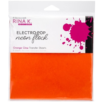 6X6 Neon Flock Transfer Sheets, Orange Glow