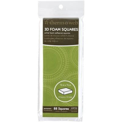 3D Foam Squares, 1/2 In. Slim Pack 88 Ct. White
