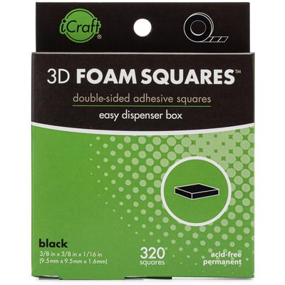"3D Foam Squares Dispenser Box, Black (1/16"" Thick x 3/8"")"