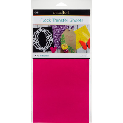 6X12 Deco Foil Flock Transfer Sheets, Think Pink