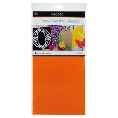 6X12 Deco Foil Flock Transfer Sheets, Orange Glow