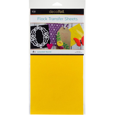 6X12 Deco Foil Flock Transfer Sheets, Sunshine Yellow