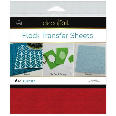 6X6 Deco Foil Flock Transfer Sheets, Ruby Red