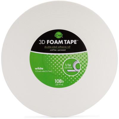 "3D Foam Tape Jumbo Roll, White (1/16"" Thick x 1/2"")"