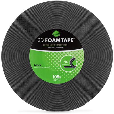 """3D Foam Tape Jumbo Roll, Black (1/16"""" Thick x 1/2"""")"""
