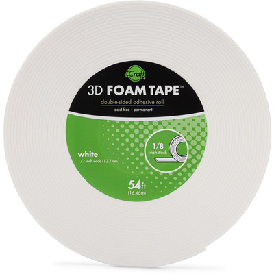 """iCraft 3D Foam Tape, White (1/8"""" Thick x 1/2"""")"""