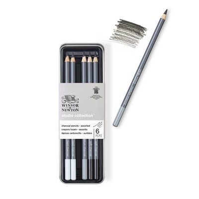 Studio Collection Charcoal Pencil Tin, Assorted (6 Piece)