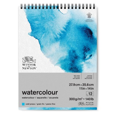 "Spiral Watercolour Paper Pad, 140lb Cold Press - 11"" x 14"""