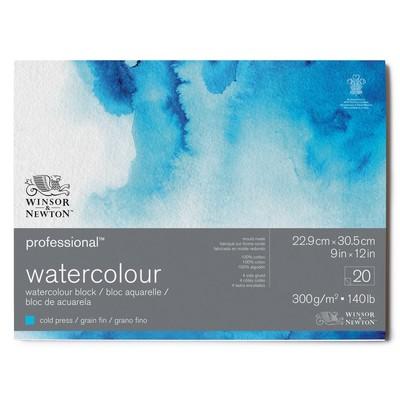 """Prof. Watercolour Paper Block, 140lb Cold Press - 9"""" x 12"""""""