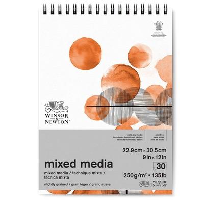 "Spiral Mixed Media Paper Pad, 250gsm - 9"" x 12"""