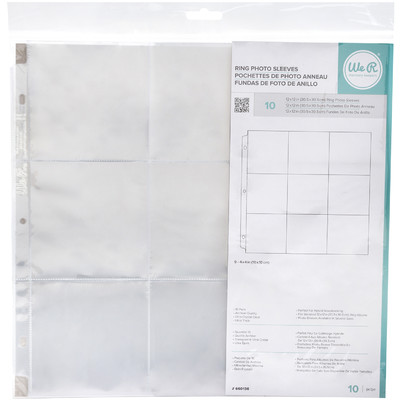 12X12 Page Protectors, 9-4X4 Pockets (10 Pack)