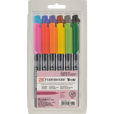Zig Fudebiyori Set, 12 Color (Single Brush Tip)