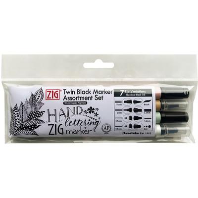 Zig Twin Black Marker Assortment Set